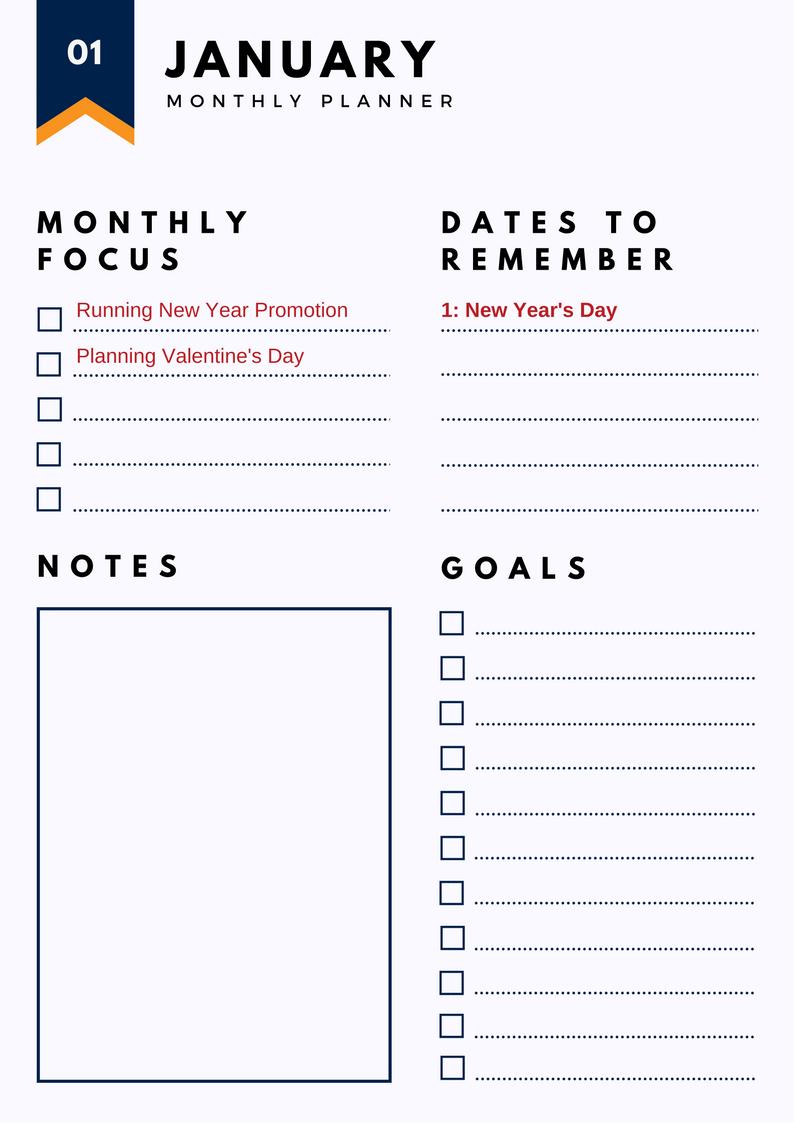 Holiday Marketing Calendar sample page